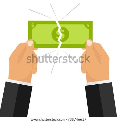 Hands break the money bill. Two hands broke the money. Flat design, vector illustration, vector. Stock photo ©