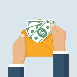 Hands businessman holding envelope with cash. American dollars. Open envelope with money. Vector illustration flat design. Finance concept of corruption and bribery.