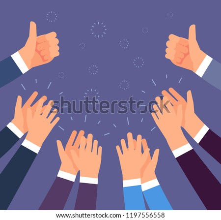 Hands clapping. Thumbs up and applause gestures. Congratulation, appreciation and business success vector concept. Illustration of people support and like thumb, up, applause hand