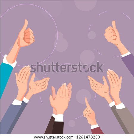Hands clapping. Thumbs up and applause gestures. Congratulation, appreciation and business success. Illustration of people support and like thumb, up, applause hand. Vector illustration