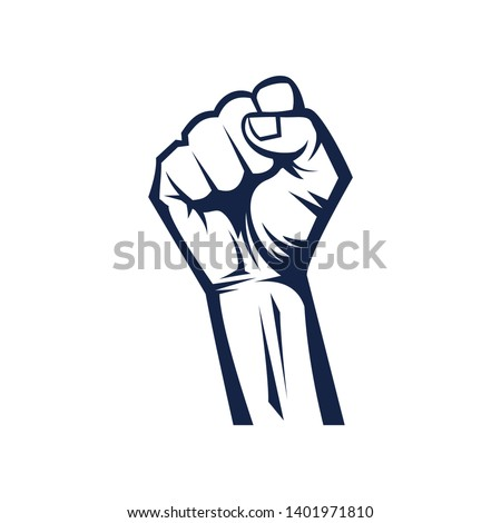 hands clenched power strength icon logo vector