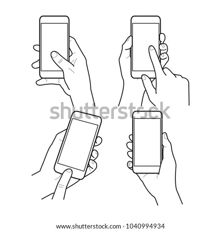 Hands collection, Vector illustration, Hand holding smartphone, Isolated, Outline, Doodle