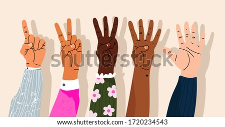 Hands counting by showing fingers. Numbers shown by hands. Variety of modern hand-drawn hand wrists. Cartoon style isolated elements. Trendy hand icons. Counting on fingers. Stockfoto ©