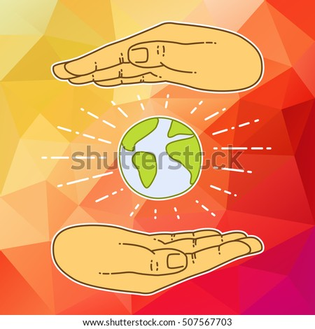 hands cover earth people of