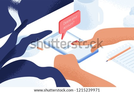 Hands deleting account or profile from social network on smartphone lying on table or desk. Concept of digital detox, information ecology, staying away from online communication. Vector illustration.