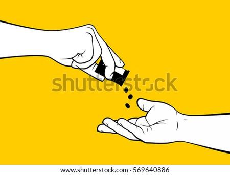 Hands dropping medicine pills