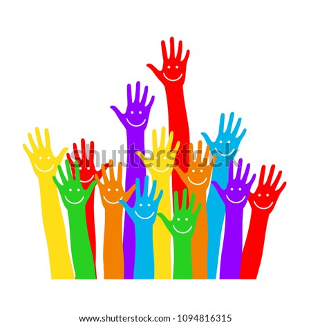 Hands emoticons. Raised hands. Vector illustration, colorful design for poster, card, invitation. Easy editable for Your design.