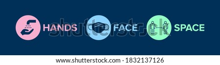 Hands Face Space UK Covid-19 Prevention Slogan Banner. Vector Graphic with Icons and 'Hands Face Space' Government Social Distancing Slogan. Face mask icon, social distance icon, wash hands icon.