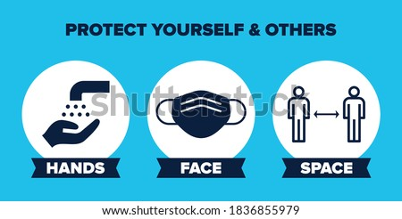 Hands Face Space UK Covid-19 Prevention Slogan Banner. Vector Graphic with Icons, Pink Background and 'Hands Face Space' Government Social Distancing Slogan. 'Protect yourself & others'