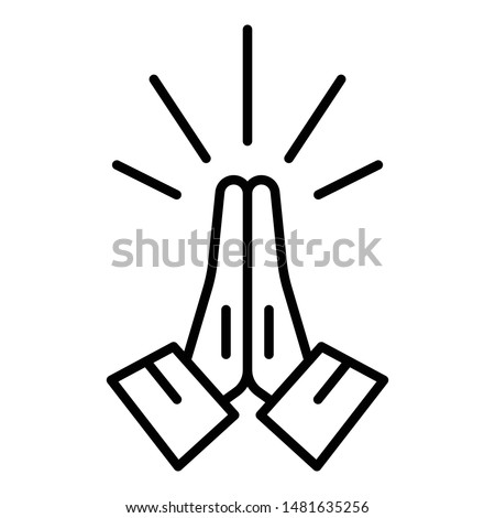 Hands folded in prayer icon. Outline hands folded in prayer vector icon for web design isolated on white background