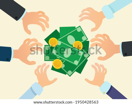 Hands from all sides reach for money. Greed and avarice, concept. Financial assistance to the poor. Free money. Vector illustration, flat design, cartoon style, isolated. Foto stock ©