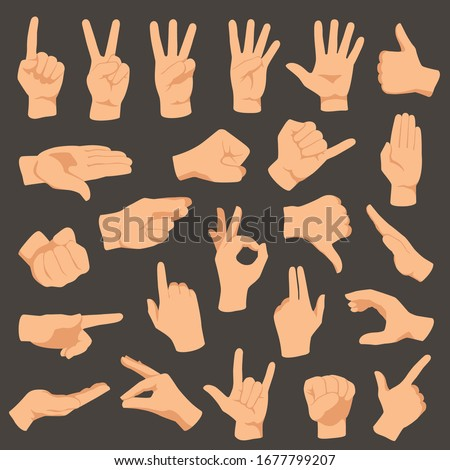 Hands gestures. Vector illustration set of gesture hand, collection pointing and ok, hold and press, language counting or gesturing
