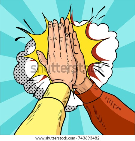 Hands give five pop art. Male hands in a gesture of success. Yellow and red sweaters. Vintage cartoon retro vector illustration. EPS 10.