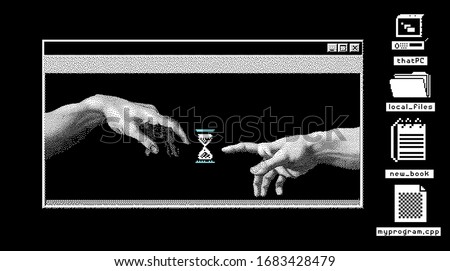 Hands going to touch together, look like the Michelangelo's art work. Cyberpunk and vaporwave style art collage.
