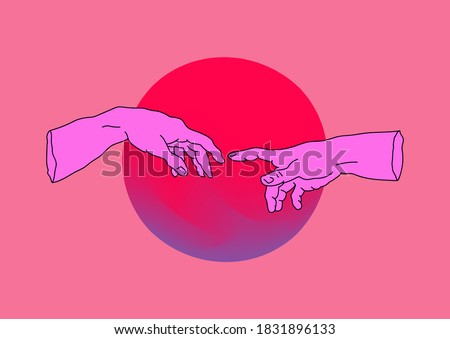 Hands going to touch together, look like the Michelangelo's art work. Cyberpunk and vaporwave style collage.