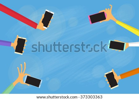 Hands Group Hold Colorful Smart Phones Copy Space Flat Vector Illustration