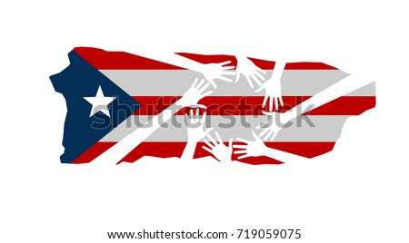 Hands Helping Puerto Rico Vector Illustration