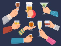 Hands hold alcoholic drinks. Man and woman with wine, beer, tequila, whiskey and champagne glasses. Cartoon bar cocktail in hand vector set