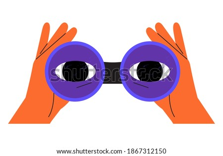 Hands hold binoculars and look through them. Vector illustration for search engine or research, web surfing. Trendy outline vector cartoon element for web, ui or application design.
