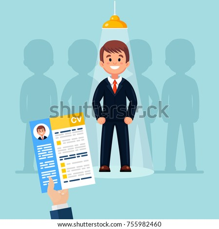 Hands hold CV profile. Pick business people to hire. Candidate for contract job. Curriculum, recruitment, HR concept. Businessman in spotlight. Vector illustraton. Flat style design