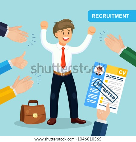 Hands hold CV profile. Success candidate for contract job. Pick business people to hire.  Curriculum, recruitment, HR concept. Applauding. Happy employee. Vector illustraton. Flat style design
