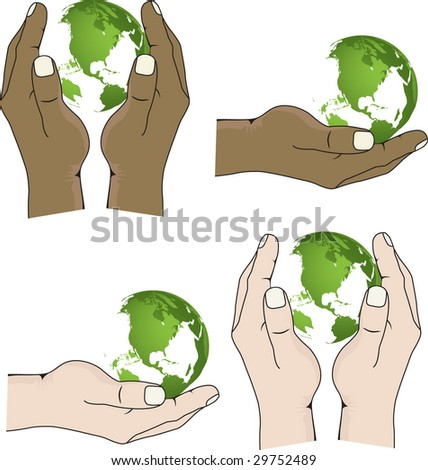 Hands hold the globe continents of green colour