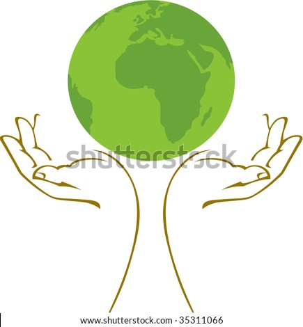 Hands holding a green earth