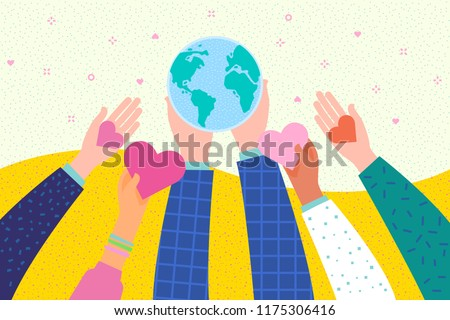 Hands holding a heart and Earth symbol. International Day of Peace. Flat design, vector illustration.