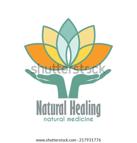 Hands holding a Lotus flower vector icon. Business sign template for Alternative Medicine, Yoga Club, Beauty Industry, Med Spa, Natural Cosmetics, Natural Healing, Acupuncture, Massage and Recreation.