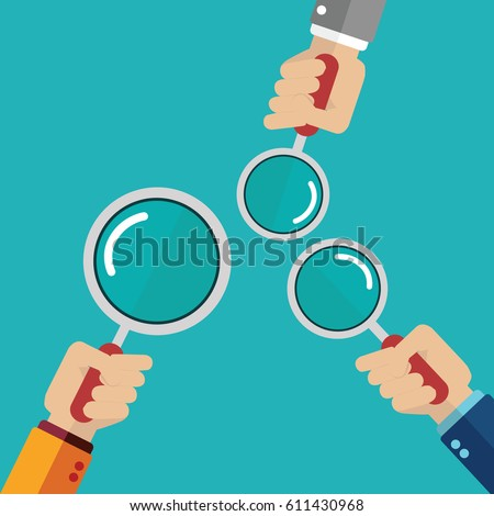 hands holding a magnifying glass. Concept of searching, detecting and analyzing. vector illustration in flat design on blue background