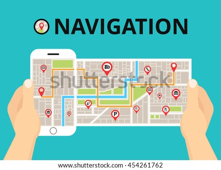 Hands holding a phone with mobile gps navigation. Finding the way concept. Flat vector illustration.