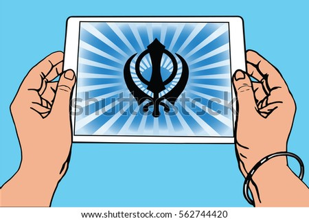 hands holding a tablet on which