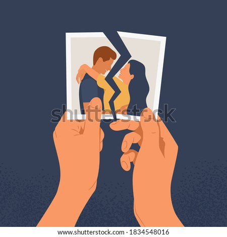 Hands holding a torn photo of a couple in love. The concept of divorce, separation and broken heart or reconciliation. Flat vector illustration of a relationship crisis on a blue background. Foto stock ©