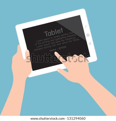 Hands holding and pointing on tablet, vector