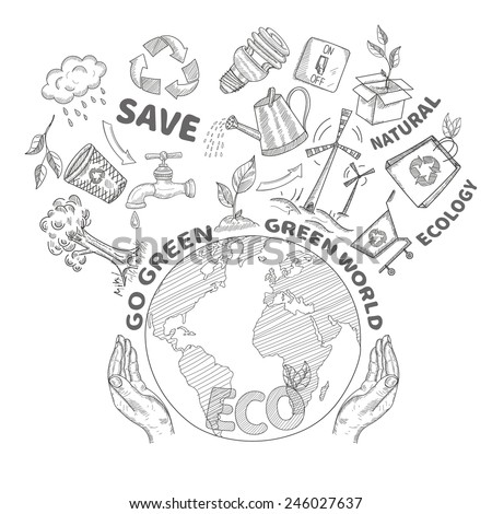 Royalty Free Green World Drawing Concept Save The 110894000 Stock