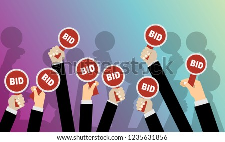 Hands holding auction paddle. Flat vector illustration. Stockfoto ©