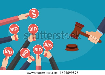 Hands holding auction paddle with bid text on it and hammer about to close the deal. Bid plates and auctioneer hammer. Auction competition concept. EPS 10 Vector illustration, flat style. ストックフォト ©