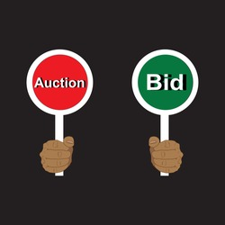 Hands holding auction paddles, auction and bid, vector illustration