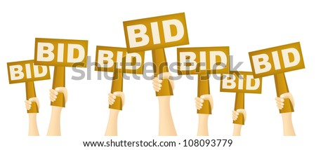 Hands holding BID sign to buy from auction.