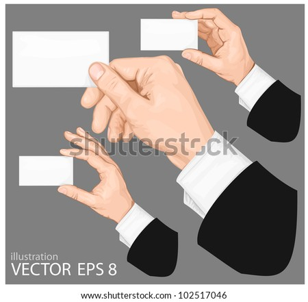 Hands holding blank business card with copy-space on gray background. vector illustration