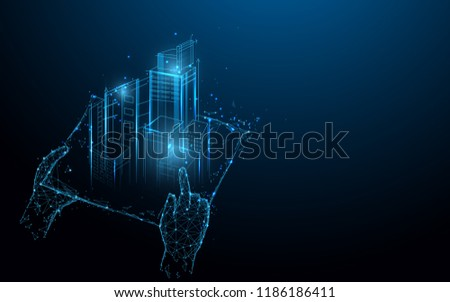 Hands holding blue print with architect form lines, triangles and particle style design. Illustration vector