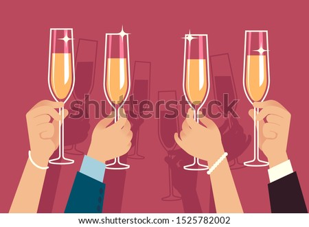 Hands holding champagne glasses. People celebrate corporate christmas party with alcohol drinks anniversary event flat vector banquet gathering celebration concept