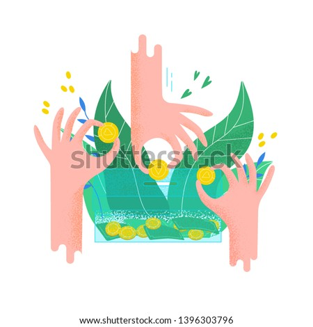 Hands holding coins and putting them into money box. Concept of charity project, donation service, fundraising program, nonprofit organization, financial endowment. Modern flat vector illustration.