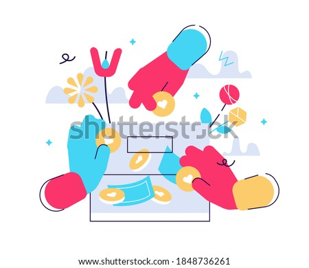 Hands holding coins and putting them into money box. Concept of charity project, donation service, fundraising program, nonprofit organization, financial endowment. Modern flat vector illustration. Photo stock ©