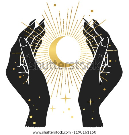Hands holding crescent moon. Vector illustration in boho style.