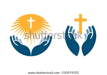 Shutterstock Hands holding Cross, icons or symbols. Religion, Church vector logo