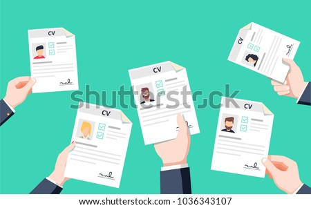 Hands holding CV papers. Human resources management concept, searching professional staff, analyzing resume papers, work. Flat vector illustration. Resume application for career position competition.