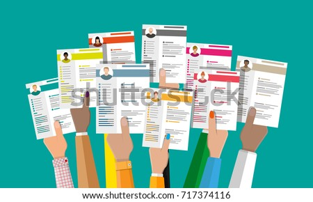 Hands holding cv resume documents. Human resources management concept, searching professional staff, work. Found right resume. Vector illustration in flat style