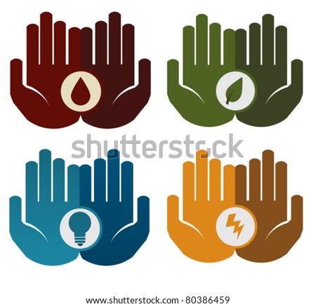 Hands holding different concepts - blood, leaf, lightbulb, thunder
