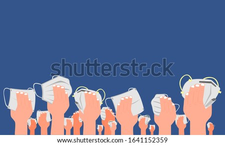 Hands holding different types of face mask for inhalation of pollution on blue background, prevent the spread of viruses. Flat design